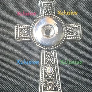 Jewelry - Cross 18mm Snap Pendant Necklace 18mm 4 Colors